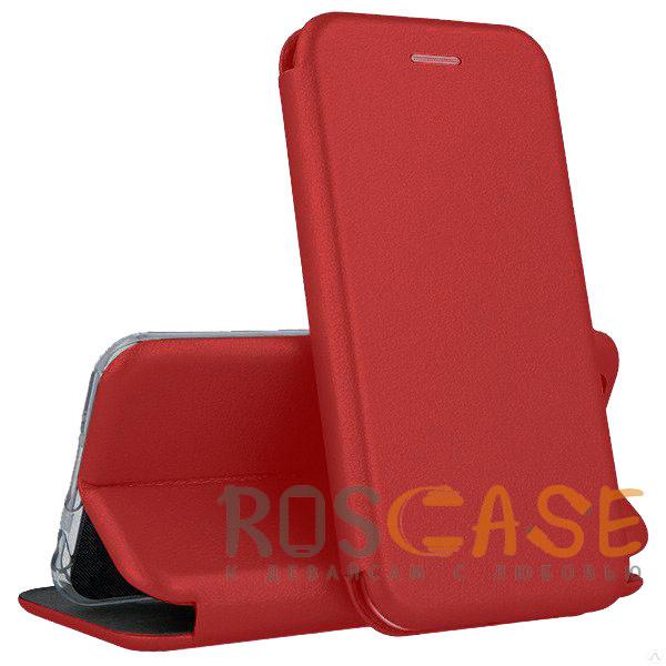 Фото Красный Open Color | Кожаный чехол-книжка для Huawei Y6 (2019) с функцией подставки и магнитом