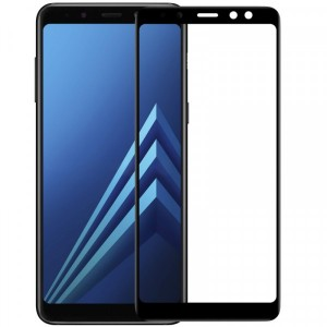 Защитное 3D стекло с цветной рамкой на весь экран для Samsung A530 Galaxy A8 (2018)