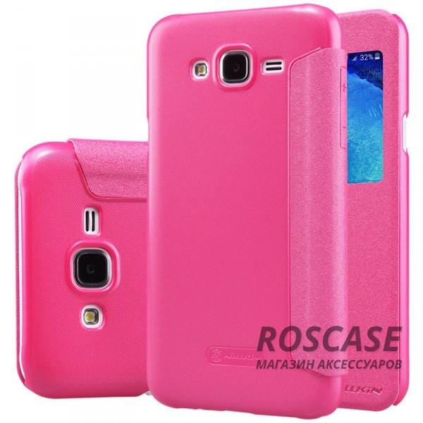 Кожаный чехол (книжка) Nillkin Sparkle Series для Samsung J700H Galaxy J7 (Розовый)Описание:бренд -&amp;nbsp;Nillkin;совместим с Samsung J700H Galaxy J7;материал - кожзам;тип: книжка.&amp;nbsp;Особенности:тонкий дизайн;окошко в обложке;блестящая поверхность;защита со всех сторон.<br><br>Тип: Чехол<br>Бренд: Nillkin<br>Материал: Искусственная кожа
