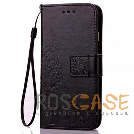 Фото Черный Кожаный чехол (книжка) Four-leaf Clover с визитницей для Samsung Galaxy A70 (A705F)
