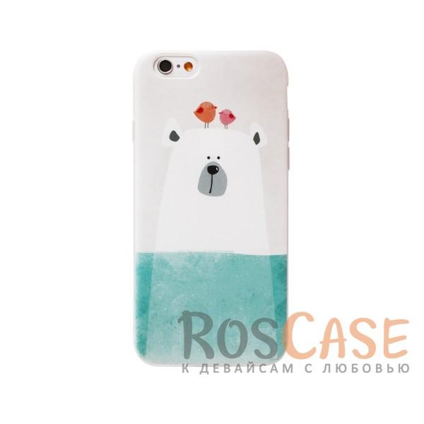 TPU чехол с подставкой Animals для Apple iPhone 6/6s (4.7)  (Белый медведь)<br><br>Тип: Чехол<br>Бренд: Epik<br>Материал: TPU
