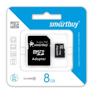 SmartBuy | Карта памяти microSDHC 8 GB Card Class 10 + SD adapter для Подарки для парня
