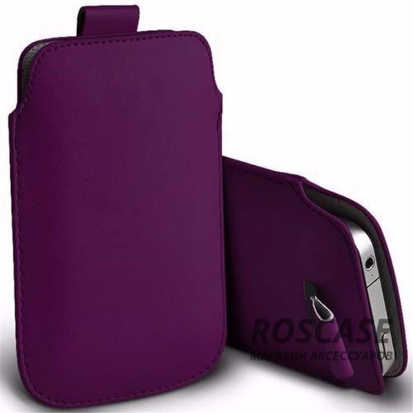 Кожаный чехол (футляр) для смартфона (140 x 75) (Фиолетовый)Описание:производитель  -  Epik;совместимость: устройства с габаритами &amp;nbsp;140*75 мм;материал  -  искусственная кожа;форма  -  футляр.&amp;nbsp;Особенности:тонкий дизайн не увеличивает габариты;не скользит в руках;язычок для извлечения устройства;защищает от ударов и царапин;на нем не видны отпечатки пальцев;размер - &amp;nbsp;140 x 75 мм.<br><br>Тип: Чехол<br>Бренд: Epik<br>Материал: Искусственная кожа