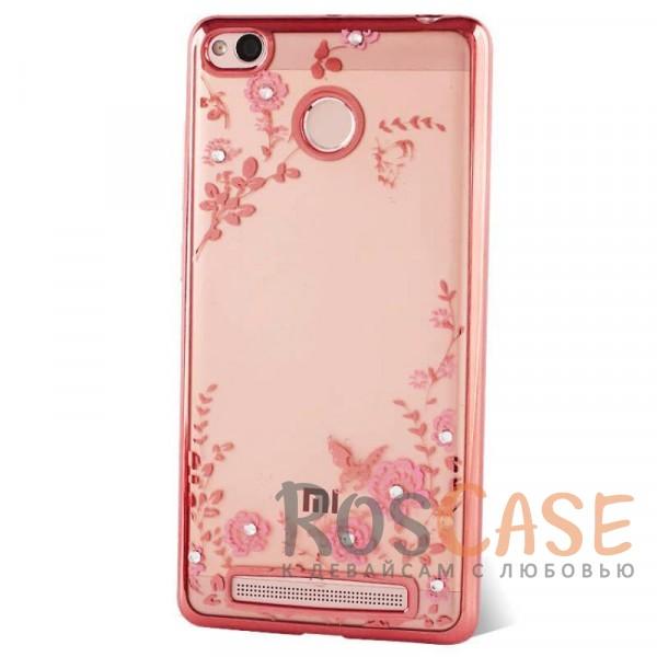 Прозрачный чехол с цветами и стразами для Xiaomi Redmi 3 Pro / Redmi 3s с глянцевым бампером (Розовый золотой/Розовые цветы)Описание:совместим с Xiaomi Redmi 3 Pro / Redmi 3s;материал - термополиуретан;тип - накладка.&amp;nbsp;Особенности:прозрачный;изящный рисунок;украшен стразами;защищает от царапин и ударов;не скользит в руках.<br><br>Тип: Чехол<br>Бренд: Epik<br>Материал: TPU