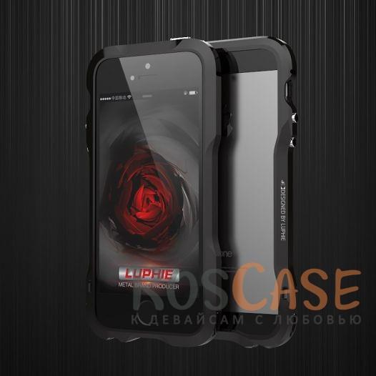 Фото Алюминиевый бампер Luphie Dark Knight для Apple iPhone 5/5S/SE + наклейка из кожи на заднюю панель