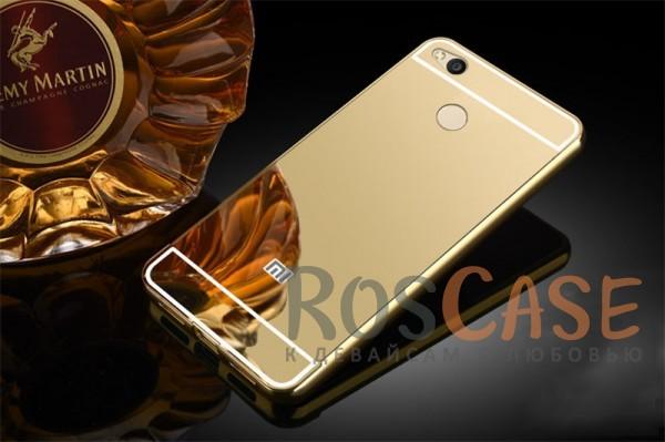 Защитный металлический бампер с зеркальной вставкой для Xiaomi Redmi 4X (Золотой)Описание:разработан для&amp;nbsp;Xiaomi Redmi 4X;материалы - металл, акрил;тип - бампер с задней панелью.<br><br>Тип: Чехол<br>Бренд: Epik<br>Материал: Металл