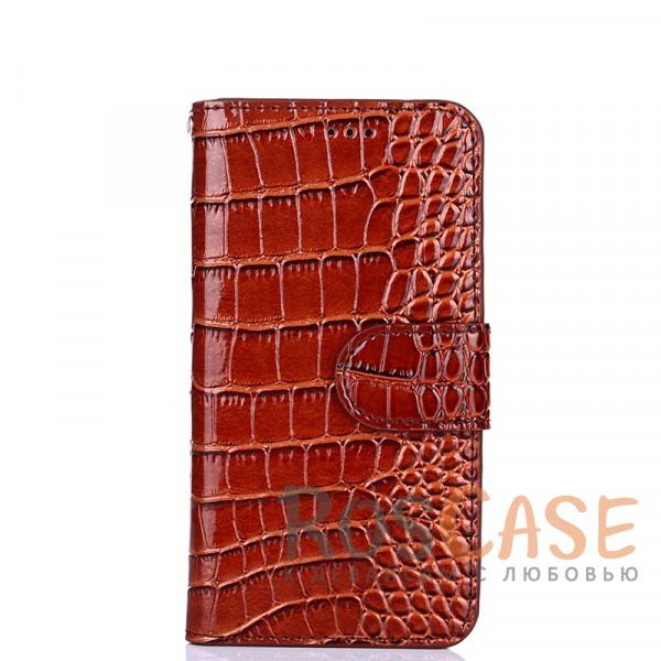 Лаковый рельефный чехол-книжка с текстурой кожи и магнитной застёжкой для OnePlus 3 / OnePlus 3T (Коричневый)<br><br>Тип: Чехол<br>Бренд: Epik<br>Материал: Искусственная кожа