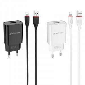 Borofone BA20A| Зарядка для телефона 1 USB / 2.1A + кабель Lightning 1м