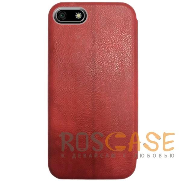 Изображение Красный Open Color 2 | Чехол-книжка на магните для Huawei Y5 (2018) / Y5 Prime (2018) с подставкой и внутренним карманом