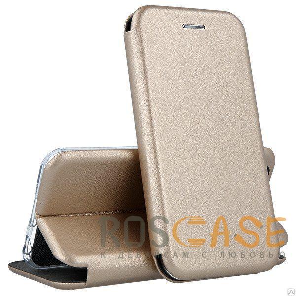 Фото Золотой Open Color | Кожаный чехол-книжка для Huawei P40 с функцией подставки и магнитом