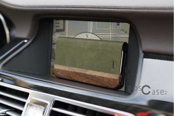 Фото #Кожаный чехол (книжка) ROCK Woody Series для Apple iPhone 5/5S