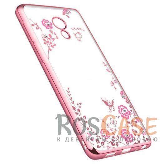 Фотография Розовый золотой/Розовые цветы Прозрачный чехол со стразами для Meizu M5 с глянцевым бампером