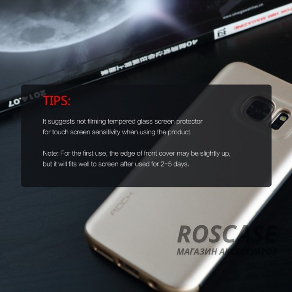 фото Золотой / Gold Чехол (книжка) Rock DR.V Series для Samsung G935F Galaxy S7 Edge