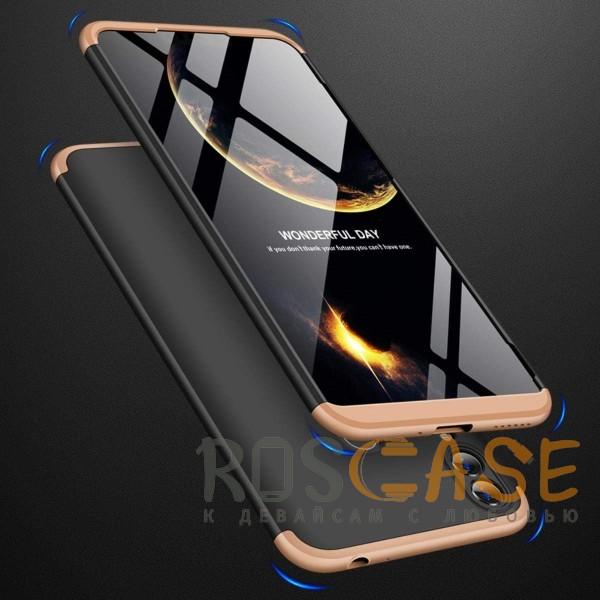 Фотография Черный / Золотой GKK LikGus 360° | Двухсторонний чехол для Huawei Honor 8C с защитными вставками