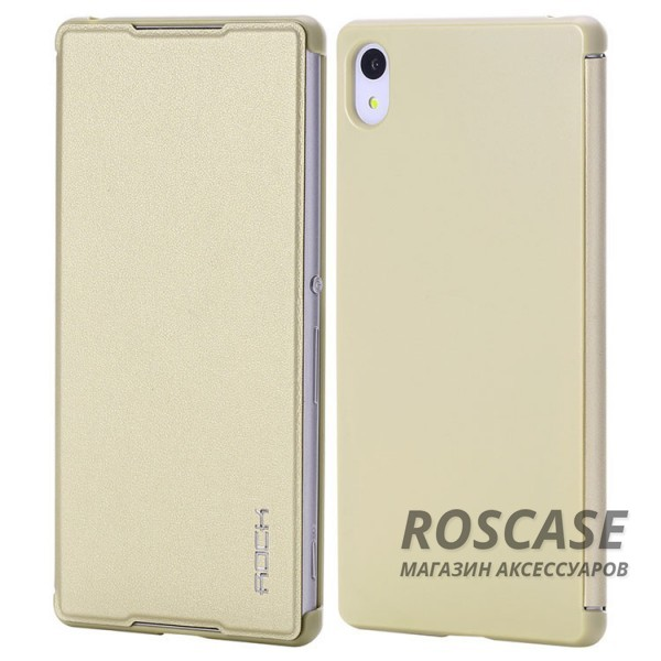 Кожаный чехол (книжка) Rock Delight Series для Sony Xperia Z3+/Xperia Z3+ Dual (Золотой / Gold)Описание:производитель  - &amp;nbsp;Rock;совместим с Sony Xperia Z3+/Xperia Z3+ Dual;материал  -  кожзам;форма  -  чехол-книжка.&amp;nbsp;Особенности:может выполнять роль подставки;имеет необходимые вырезы;не увеличивает габариты планшета;защищает от ударов и падений;на нем не остаются отпечатки пальцев .<br><br>Тип: Чехол<br>Бренд: ROCK<br>Материал: Искусственная кожа