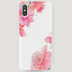 RosCase | Силиконовый чехол Розовые цветочные уголки на Xiaomi Mi 8