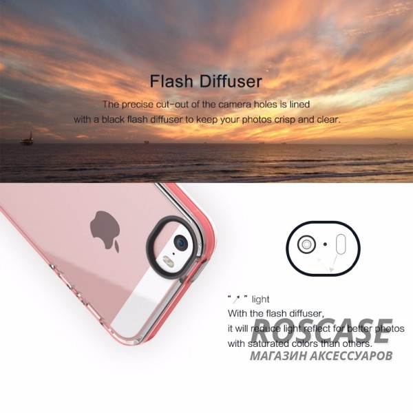 Изображение Красный / Transparent Red TPU чехол ROCK Joyful Series для Apple iPhone 5/5S/SE