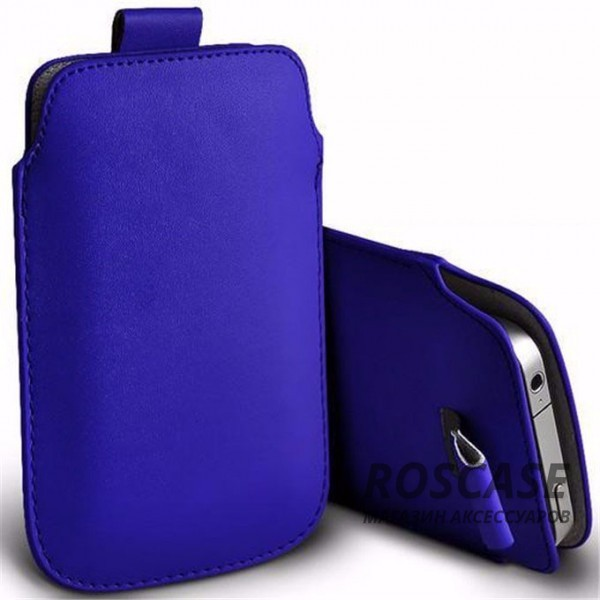 Кожаный чехол футляр с язычком для телефона 3.5-4.8 дюйма (Синий)
