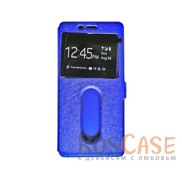 Чехол-книжка подставка на пластиковой основе с окном вызова для OnePlus 3 / OnePlus 3T (Синий)<br><br>Тип: Чехол<br>Бренд: Epik<br>Материал: Искусственная кожа