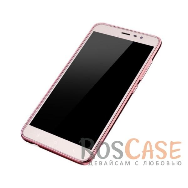 Изображение Розовый золотой/Розовые цветы Прозрачный чехол со стразами для Meizu U20 с глянцевым бампером