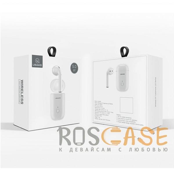 Изображение Белый USAMS-LB (МОНО) | Беспроводной наушник Bluetooth с микрофоном и кейсом подзарядкой (Док-станция)