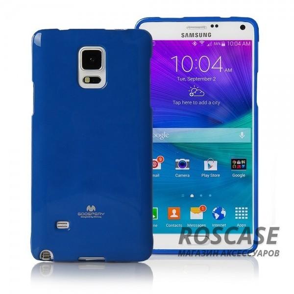 TPU чехол Mercury Jelly Color series для Samsung N910H Galaxy Note 4 (Синий)Описание:бренд  -  Mercury;совместимость  -  телефоны Samsung N910H Galaxy Note 4;материал  -  термопластичный полиуретан (ТПУ);форма чехла  -  накладка.Особенности:износостойкость, прочность;поверхность  -  глянцевая, нескользящая;в наличии все функциональные вырезы;ультратонкий.<br><br>Тип: Чехол<br>Бренд: Mercury<br>Материал: TPU