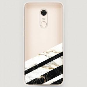 RosCase | Силиконовый чехол Черно-белый мрамор половинка на Xiaomi Redmi 5 Plus / Redmi Note 5 (Single Camera)