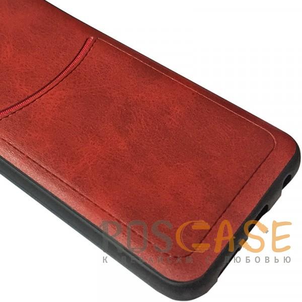 Фотография Красный ILEVEL | Чехол с кожаным покрытием и с карманом-визитницей для Huawei Honor 10