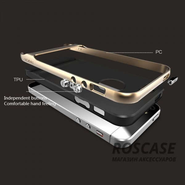 Изображение Черный / Champagne Gold TPU+PC чехол Rock Royce Cross Series для Apple iPhone 5/5S/SE