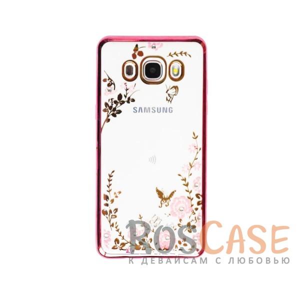 Прозрачный чехол с цветами и стразами для Samsung J510F Galaxy J5 (2016) с глянцевым бампером (Розовый золотой/Розовые цветы)Описание:совместим с Samsung J510F Galaxy J5 (2016);материал - термополиуретан;тип - накладка.&amp;nbsp;Особенности:прозрачный;изящный рисунок;украшен стразами;защищает от царапин и ударов;не скользит в руках.<br><br>Тип: Чехол<br>Бренд: Epik<br>Материал: TPU