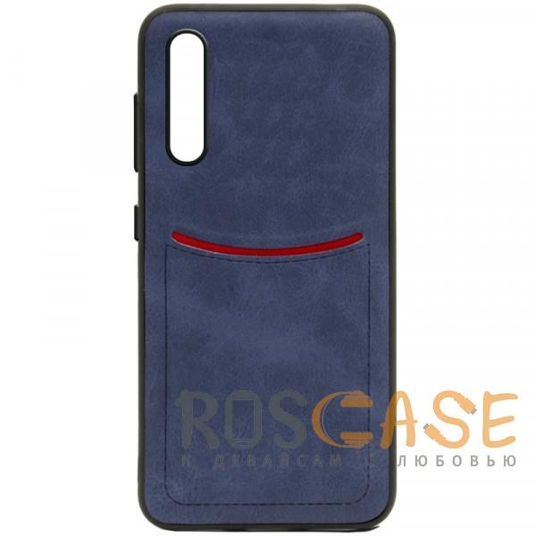 Фото Синий ILEVEL   Чехол с кожаным покрытием и с карманом-визитницей для Huawei P20 Pro