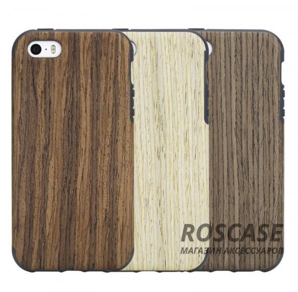 Деревянная накладка Rock Origin Series (Grained) для Apple iPhone 5/5S/SEОписание:от бренда&amp;nbsp;Rock;подходит для Apple iPhone 5/5S/SE;тип: накладка;материалы: термополиуретан и натуральное дерево.Особенности:защита корпуса от повреждений;фактура шероховатая;фиксация надежная;текстура приятная на ощупь;оригинальный дизайн.<br><br>Тип: Чехол<br>Бренд: ROCK<br>Материал: TPU