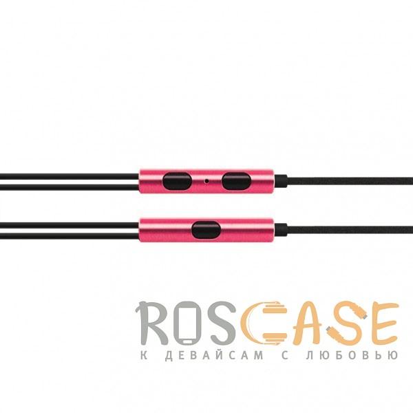 Изображение Розовый JX | Металлические наушники с плетеным проводом и пультом