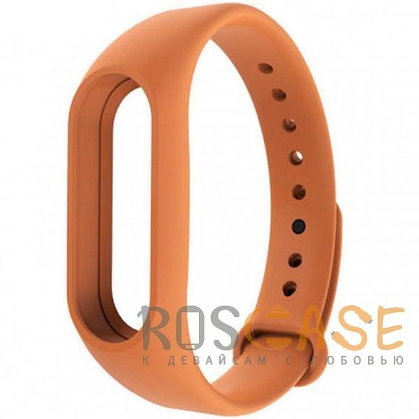 Фото Оранжевый Одноцветный силиконовый ремешок для фитнес-браслета Xiaomi Mi Band 2