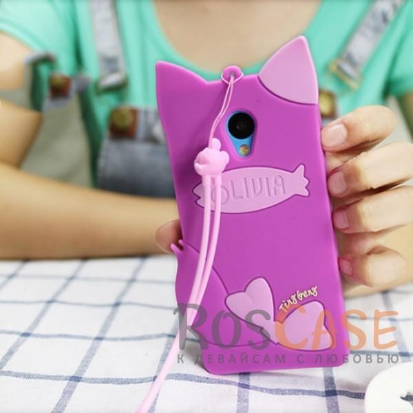 Силиконовый чехол Кошечка Оливия со шнурком для Meizu M3 / M3 mini / M3s (Фиолетовый)<br><br>Тип: Чехол<br>Бренд: Epik<br>Материал: Силикон
