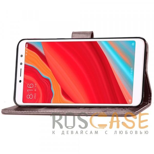 Фотография Серый Чехол-книжка с узорами на магнитной застёжке для Xiaomi Redmi S2