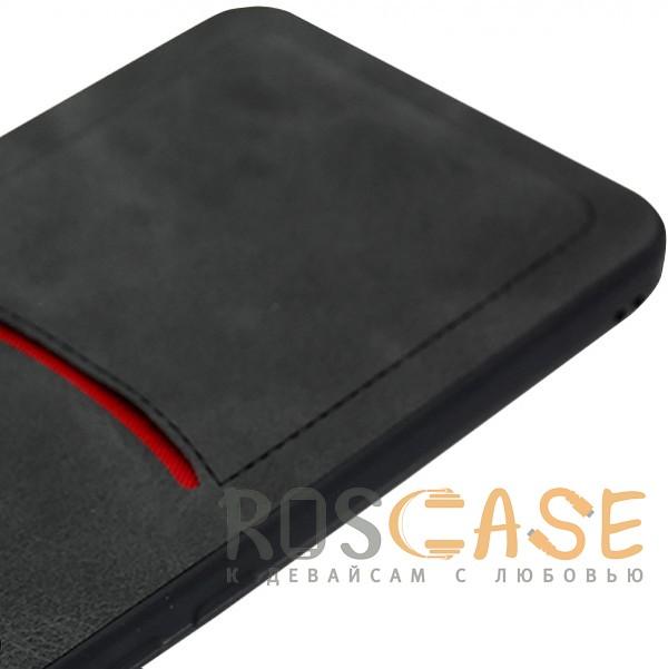 Фотография Черный ILEVEL | Чехол с кожаным покрытием и с карманом-визитницей для Huawei P20