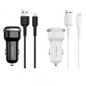 Borofone BZ13 | Автомобильная зарядка для телефона 2USB / 2.4A + кабель Lightning 1m