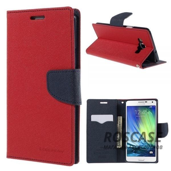 Чехол (книжка) Mercury Fancy Diary series для Samsung A700H / A700F Galaxy A7 (Красный / Синий)Описание:производитель  -  компания&amp;nbsp;Mercury;совместим с Samsung A700H / A700F Galaxy A7;материалы  -  искусственная кожа, термополиуретан;форма  -  чехол-книжка.&amp;nbsp;Особенности:фактурная поверхность;предусмотрены все функциональные вырезы;кармашки для визиток/кредитных карт/купюр;магнитная застежка;защита от механических повреждений;трансформируется в подставку.<br><br>Тип: Чехол<br>Бренд: Mercury<br>Материал: Искусственная кожа