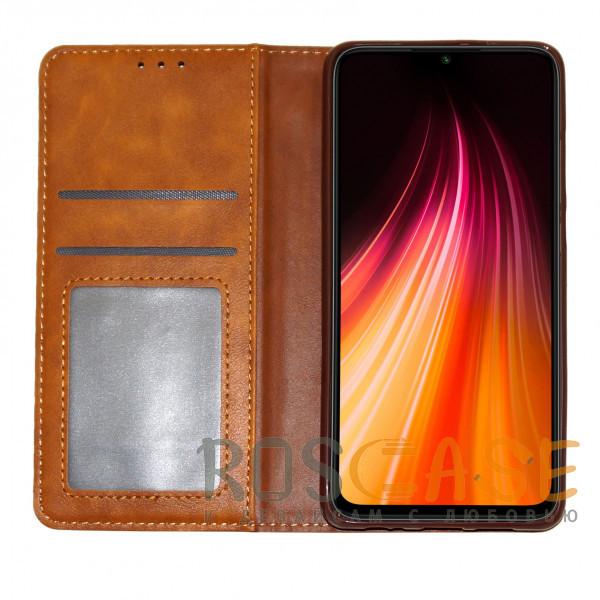 Изображение Коричневый Business Wallet   Кожаный чехол книжка с визитницей для Huawei Y8P / P Smart S
