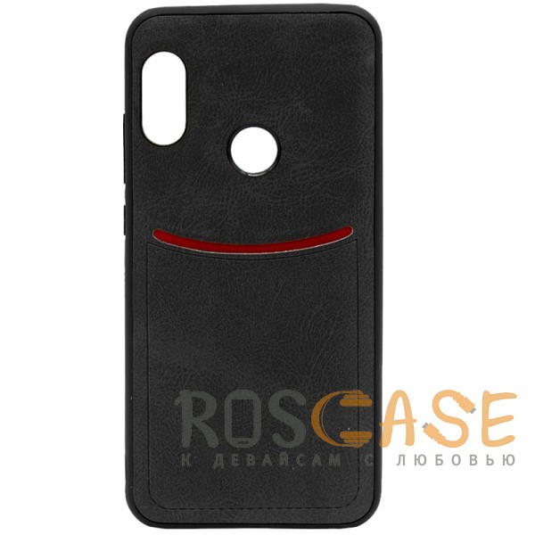 Фото Черный ILEVEL | Чехол с кожаным покрытием и с карманом-визитницей для Xiaomi Redmi Note 6 Pro