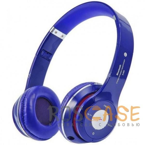Фото Синий TM-012S | Беспроводные наушники Bluetooth с микрофоном и разъемом для карты памяти