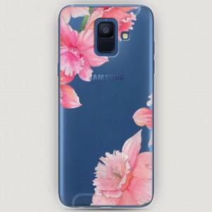 RosCase | Силиконовый чехол Розовые цветочные уголки на Samsung Galaxy A6 (2018)