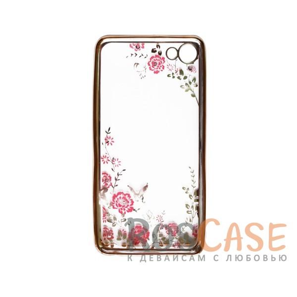 Изображение Золотой / Розовые цветы Прозрачный чехол со стразами для Meizu U10 с глянцевым бампером
