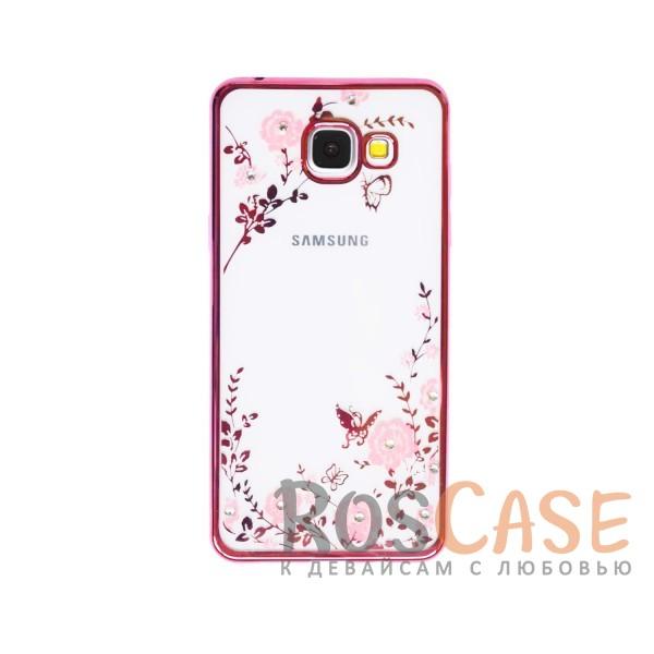 Прозрачный чехол с цветами и стразами для Samsung A510F Galaxy A5 (2016) с глянцевым бампером (Розовый золотой/Розовые цветы)Описание:совместим с Samsung A510F Galaxy A5 (2016);материал - термополиуретан;тип - накладка.&amp;nbsp;Особенности:прозрачный;изящный рисунок;украшен стразами;защищает от царапин и ударов;не скользит в руках.<br><br>Тип: Чехол<br>Бренд: Epik<br>Материал: TPU