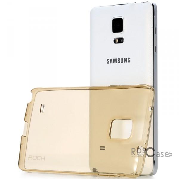 TPU чехол ROCK Slim Jacket для Samsung N910H Galaxy Note 4 (Золотой / Transparent Gold)Описание:разработчик  - &amp;nbsp;Rock;разработан специально для Samsung N910H Galaxy Note 4;материал  -  термополиуретан;тип  -  накладка.&amp;nbsp;Особенности:соответствие всех вырезов функциям;прозрачный;не трескается;надежная система фиксации;на нем не видны следы от пальцевустойчив к пожелтению.<br><br>Тип: Чехол<br>Бренд: ROCK<br>Материал: TPU