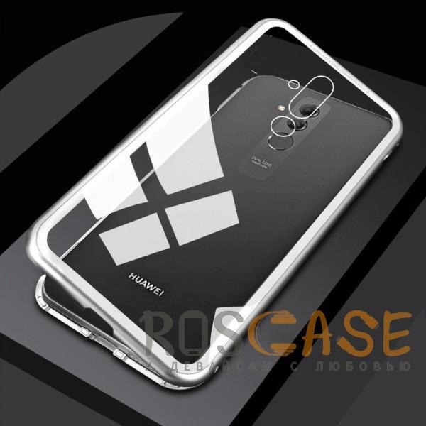 Фото Белый Металлический бампер с задней стеклянной вставкой на магнитной защелке для Huawei Mate 20 lite