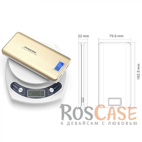 Изображение Золотой Портативное зарядное устройство в противоударном корпусе с ЖК дисплеем и фонариком 20000mAh (2 USB)