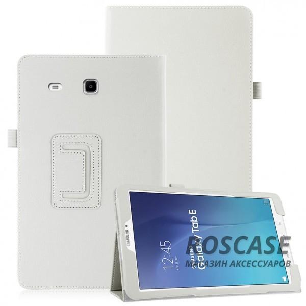 Кожаный чехол-книжка TTX с функцией подставки для Samsung Galaxy Tab E 9.6 (Белый)Описание:производитель  - &amp;nbsp;TTX;совместимость  -  Samsung Galaxy Tab E 9.6;материалы  - кожзам и микрофибра;форма  -  чехол-книжка.&amp;nbsp;Особенности:может превращаться в подставку;надежно удерживает планшет;защищает от царапин, потертостей, трещин;на нем не остаются отпечатки пальцев;вырезы для: динамиков, наушников, зарядного устройства, камеры, кнопок.<br><br>Тип: Чехол<br>Бренд: TTX<br>Материал: Искусственная кожа