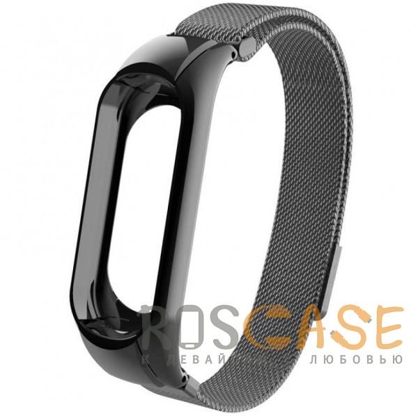 Фото Черный Xiaomi Mi Band 3 | Металлический ремешок для фитнес-браслета с миланской петлей
